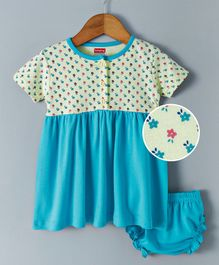 Babyhug Half Sleeves Frock With Bloomer Floral Print - Blue