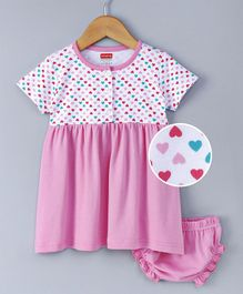 Babyhug Half Sleeves Frock With Bloomer Hearts Print - Pink