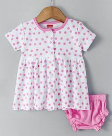 Babyhug Half Sleeves Frock With Bloomer Polka Print - White Pink