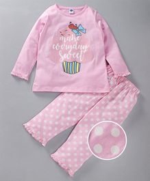 Teddy Full Sleeves Night Suit Make Everyday Sweet Print - Light Pink