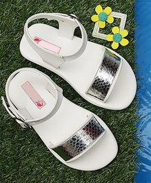 D'Chica Velcro Strap Blingy Sandals - White