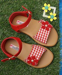 D'Chica Check Pattern Sandals - Red