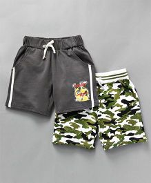 Tambourine Set Of 2 Camouflage & Printed Shorts - Grey