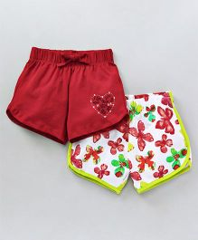 Tambourine Set Of 2 Flowers & Solid Print Shorts - Green & Red