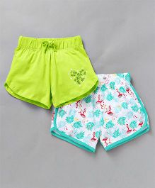 Tambourine Set Of 2 Swan & Solid Print Shorts - Blue & Green