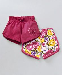 Tambourine Set Of 2 Flowery & Solid Print Shorts - Pink