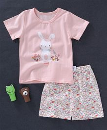 Honey Hut Rabbit Printed Tee & Floral Print Shorts Set - Pink