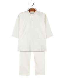 BownBee Embroidered Kurta Pajama Set - White