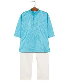 BownBee Embroidered Kurta Pajama Set - Sky Blue