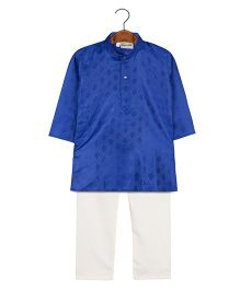 BownBee Embroidered Kurta Pajama Set - Blue