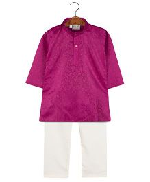 BownBee Embroidered Kurta Pajama Set - Purple