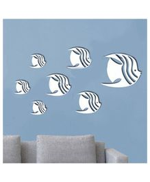 Syga Fish With Wings Shape Acrylic Wall Sticker - Silver