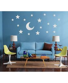 Syga Stars & Moon Shape Acrylic Wall Sticker - Silver