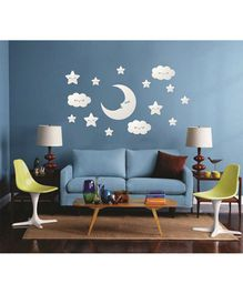 Syga Stars & Moon With Eyes Acrylic Wall Sticker - Silver