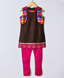 Twisha Mock Jacket Kurta With Churidar - Brown