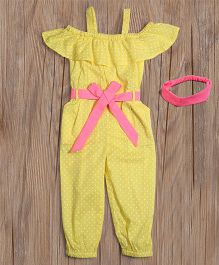 Lilpicks Couture Polka Jumpsuit With Headband - Yellow