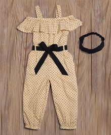 Lilpicks Couture Polka Jumpsuit With Headband - Beige