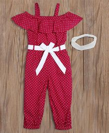 Lilpicks Couture Polka Jumpsuit With Headband - Pink
