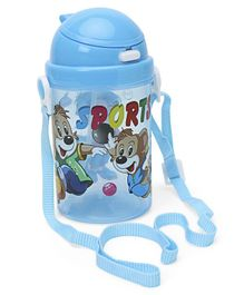 Sipper Water Bottle With Strap Blue - 450 ml