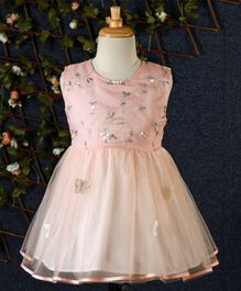 Lekeer Kids Floral Design Net Dress - Peach