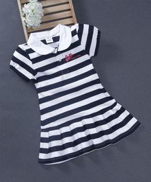 Watermelon Striped Collar Dress - Dark Blue & White