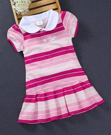 Watermelon Striped Design Collar Dress - Pink