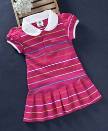 Watermelon Striped Collar Dress - Pink