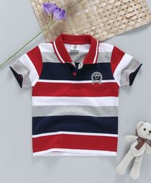 Watermelon Striped Polo Neck Tee - Red