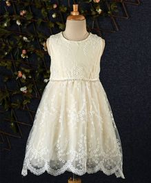 Fen Cai Floral Lace Dress - Cream