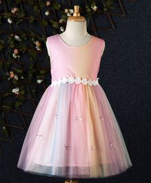 Fen Cai Flower Lace Tulle Dress With Bow - Pink