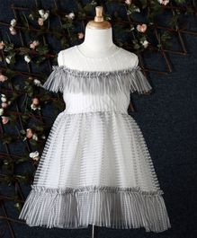 Fen Cai Striped Tulle Dress With Bow - Grey