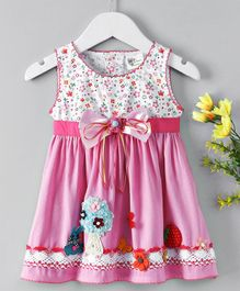 Little Marie Flower & Bow Applique Dress - Pink