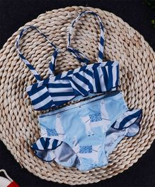 Pre Order - Awabox Stripes Printed Swim Suit - Light Blue