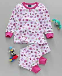 Hudson Baby Flower & Butterfly Print Night Suit - Pink & White