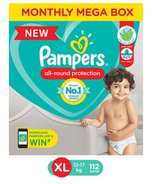 Pampers Pant Style Extra Large Size Diapers Monthly Box Pack - 112 Pieces