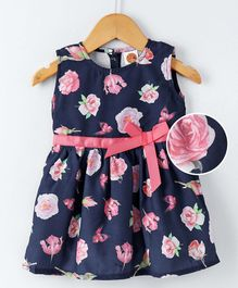 Dew Drops Sleeveless Frock Floral Print - Navy