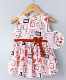 Dew Drops Sleeveless Frock Bunny & Heart Print - Pink