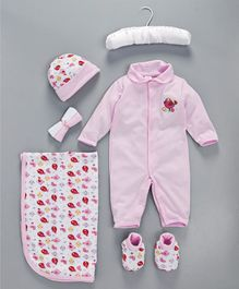 Mee Mee Baby Gift Set Pink Sparrow Print - 7 Pieces
