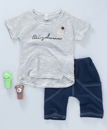 Bingo Boom Striped Tee & Shorts Set - White & Blue