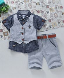 ZY & UP Shirt With Attached Jacket & Shorts Set - Grey