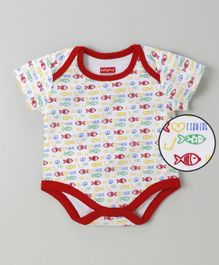 Babyhug Half Sleeves Cotton Onesie Fish Print - White