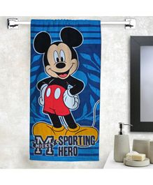 Athom Trendz Cotton Bath Towel Disney Mickey Mouse Print - Blue