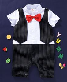 Kai Kai Gentleman Romper with Bow - Black & White