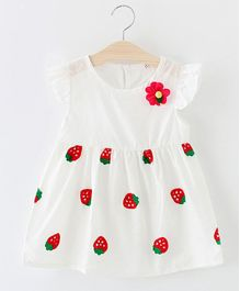 Dells World Strawberry Print Frill Dress - White & Red