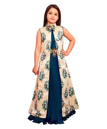 Betty By Tiny Kingdom Long Gown With Floral Jacket - Blue