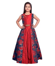 Betty By Tiny Kingdom Floral Print Long Gown - Maroon