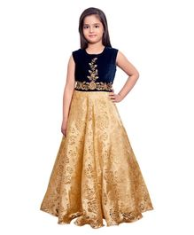 Betty By Tiny Kingdom Designer Flare Gown - Navy Blue Golden