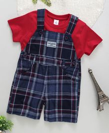ToffyHouse Half Sleeves T-Shirt With Checked Dungaree - Red Navy