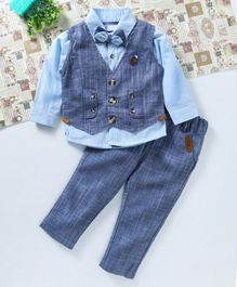 ZY & UP 3 Pcs Party Wear Suit - Blue