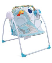 Baby Prim Portable Swing With Charger & Hanging Toys Dots Print - Blue
